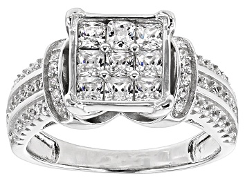 Picture of White Cubic Zirconia Rhodium Over Silver Ring 2.10ctw