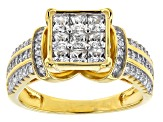 White Cubic Zirconia 18k Yellow Gold Over Silver Ring 2.10ctw