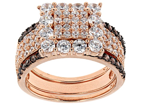 Brown And White Cubic Zirconia 18k Rose Gold Over Silver Ring With Bands 3.65ctw