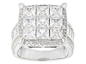 White Cubic Zirconia Rhodium Over Silver Ring 8.02ctw