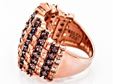 Brown And Mocha Cubic Zirconia 18k Rose Gold Over Silver Ring 5.83ctw
