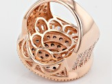 White And Mocha Diamond Simulants 18k Rose Gold Over Silver Ring 4.56ctw