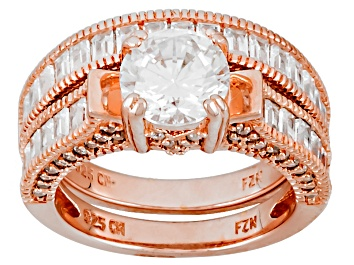 Picture of White Cubic Zirconia 18k Rose Gold Over Sterling Silver Ring With Band 4.82ctw