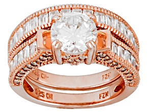 White Cubic Zirconia 18k Rose Gold Over Sterling Silver Ring With Band 4.82ctw