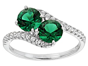 Green And White Cubic Zirconia Rhodium Over Silver Ring 1.97ctw