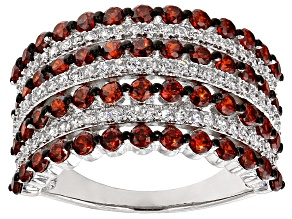 Red And White Cubic Zirconia Rhodium Over Silver Ring 3.37ctw