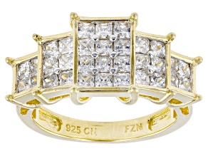 White Cubic Zirconia  18k Yg Over Silver Ring 3.10ctw