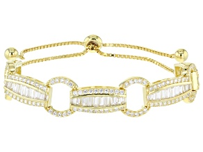 White Cubic Zirconia 18k Yellow Gold Over Silver Bracelet 5.88ctw