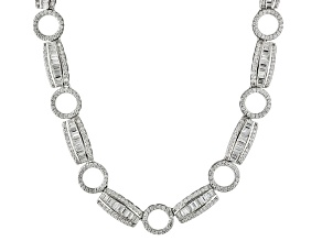 White Cubic Zirconia Rhodium Over Silver Adjustable Necklace 13.44ctw