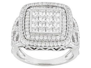 White Cubic Zirconia Rhodium Over Silver Ring 2.91ctw