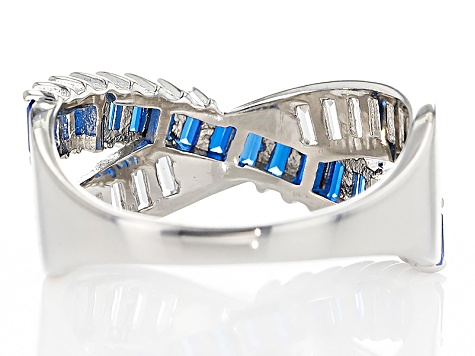 Blue Lab Created Spinel And White Cubic Zirconia Rhodium Over Silver Ring 2.05ctw