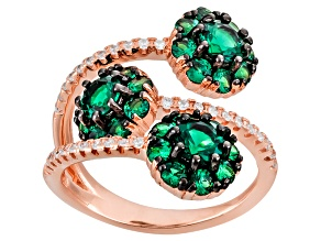Green And White Cubic Zirconia 18k Rose Gold Over Silver Ring 2.44ctw