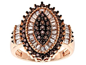Brown And White Cubic Zirconia 18k Rose Gold Over Silver Ring 2.47ctw