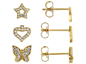 White Cubic Zirconia 18K Yellow Gold Over Silver Earrings .82ctw
