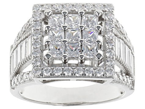 White Cubic Zirconia Rhodium Over Silver Ring 3.80ctw