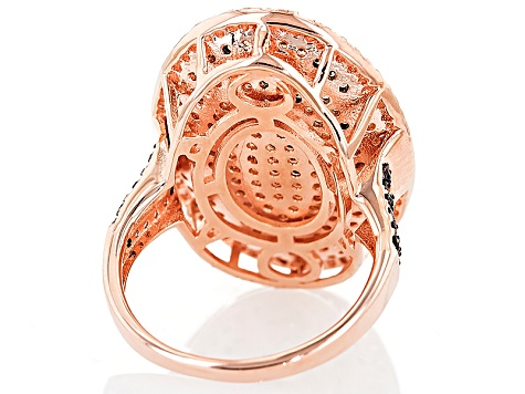Brown Mocha And White Cubic Zirconia 18k Rose Gold Over Silver Ring 2.13ctw