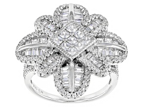 White Cubic Zirconia Rhodium Over Silver Ring 3.93ctw