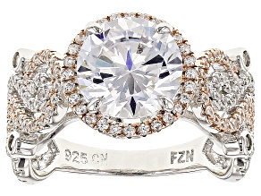 White Cubic Zirconia Rhodium Over Silver And 18kt Rose Gold Over Silver Ring 6.18ctw