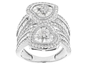 White Cubic Zirconia Rhodium Over Silver Heart Ring 3.61ctw