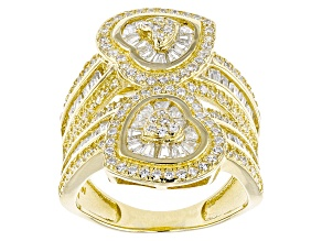 White Cubic Zirconia 18k Yellow Gold Over Silver Ring 3.61ctw