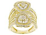 White Cubic Zirconia 18k Yellow Gold Over Silver Heart Ring 3.61ctw