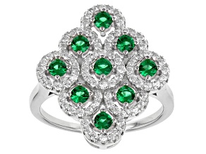 Green And White Cubic Zirconia Rhodium Over Silver Ring 1.56ctw