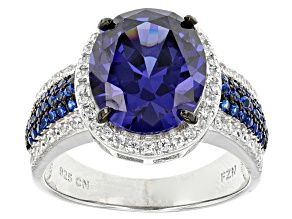 Blue And White Cubic Zirconia Rhodium Over Silver Ring 7.92ctw