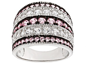 Pink And White Cubic Zirconia Rhodium Over Silver Ring 3.16ctw