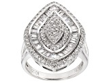 White Cubic Zirconia Rhodium Over Silver Ring 1.99ctw