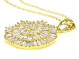White Cubic Zirconia 18K Yellow Gold Over Silver Pendant With Chain 7.81ctw