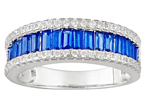 Blue And White Cubic Zirconia Rhodium Over Silver Ring 2.34ctw