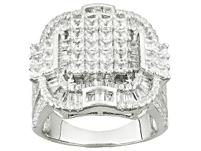 White Cubic Zirconia Rhodium Over Silver Ring 5.93ctw