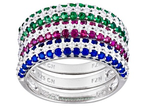 Blue/Red/Green/White Cubic Zirconia Rhodium Over Silver Rings 3.00ctw
