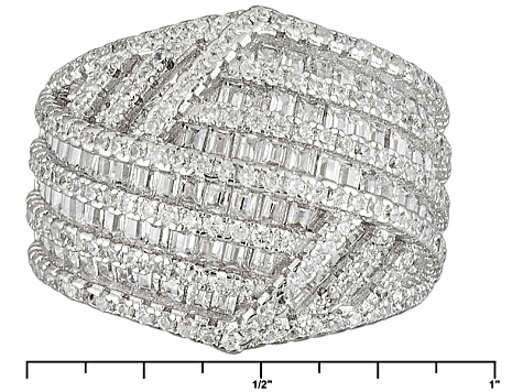 White Cubic Zirconia Rhodium Over Silver Ring 3.58ctw