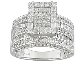 White Cubic Zirconia Rhodium Over Silver Ring 3.75ctw