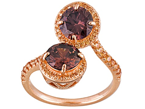 Brown And Mocha Cubic Zirconia 18 K Rose Gold Over Silver Ring 4.86ctw