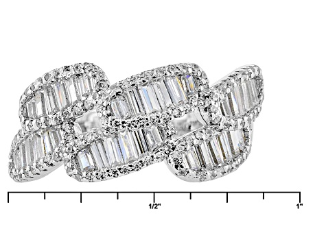 White Cubic Zirconia Rhodium Over Silver Ring 2.44ctw