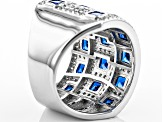 Blue And White Cubic Zirconia Rhodium Over Silver Ring 3.88ctw