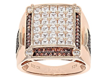 Picture of Brown And White Cubic Zirconia 18k Rose Gold Over Silver Ring 4.24ctw