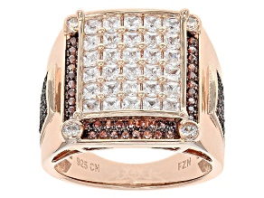 Brown And White Cubic Zirconia 18k Rose Gold Over Silver Ring 4.24ctw