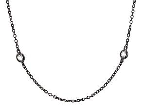 White Cubic Zirconia Black Rhodium Over Silver Necklace 1.75ctw