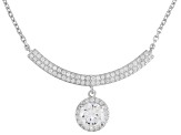 White Cubic Zirconia Rhodium Over Silver Adjustable Necklace 3.20ctw