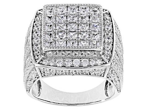White Cubic Zirconia Rhodium Over Sterling Silver Ring 5.21ctw