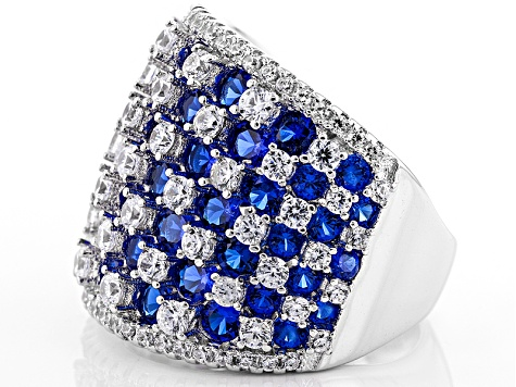 Blue And White Cubic Zirconia Rhodium Over Silver Ring 6.14ctw
