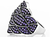 Purple Cubic Zirconia Black/White Rhodium Over Silver Ring 1.55ctw