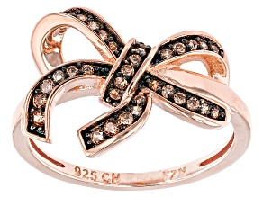 Champagne Cubic Zirconia 18k Rose Gold Over Silver Ring .32ctw
