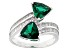 Green And White Cubic Zirconia Rhodium Over Silver Ring 4.10ctw
