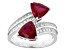 Red And White Cubic Zirconia Rhodium Over Silver Ring 4.10ctw