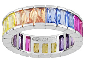 Yellow/Brown/Blue/Pink/Purple Cubic Zirconia Rhodium Over Silver Ring 6.93ctw