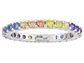 Yellow/Brown/Blue/Pink/Purple Cubic Zirconia Rhodium Over Silver Ring 1.37ctw